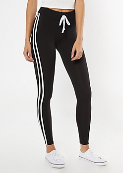 Black Super Soft Striped Leggings