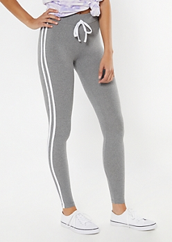 Gray Super Soft Striped Jogger Leggings