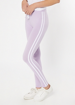 Lavender Super Soft Striped Leggings