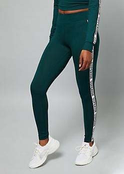 Dark Green Superior Striped Super Soft Leggings