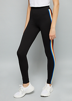 Black Rainbow Side Striped Super Soft Mid Rise Leggings
