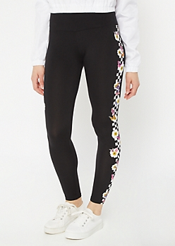 Black Floral Checkered Print Butterfly Leggings