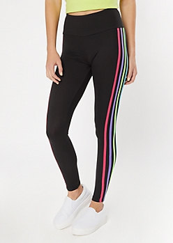 Black Neon Four Side Striped Super Soft Leggings