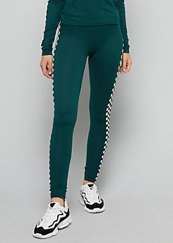 Dark Green Checkered Print High Waisted Leggings