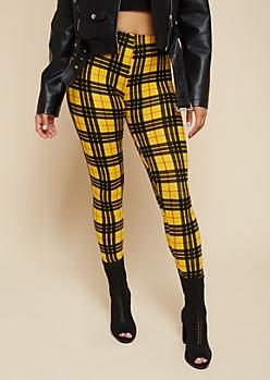 Mustard Plaid Print Super Soft High Waisted Leggings