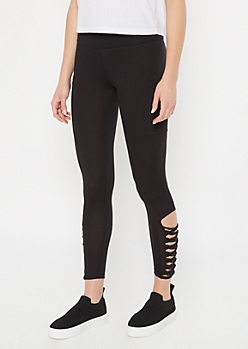 Black Super Soft Lattice Cell Phone Pocket Leggings