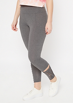 Gray Super Soft Lattice Cell Phone Pocket Leggings