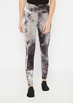 Black Tie Dye Super Soft Lattice Cell Phone Pocket Leggings