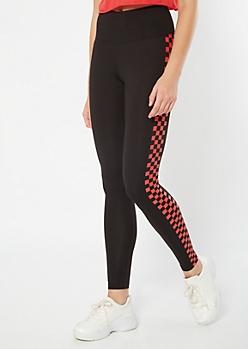 Black Checkered Print Side Striped High Waisted Leggings