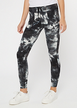 Black Tie Dye Drawstring Leggings