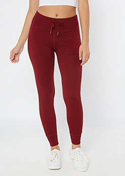 Burgundy High Waisted Super Soft Jogger Leggings