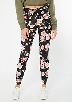 Black Floral Print High Waisted Super Soft Jogger Leggings