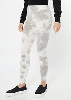 Gray Tie Dye Mid Rise Cell Phone Pocket Leggings