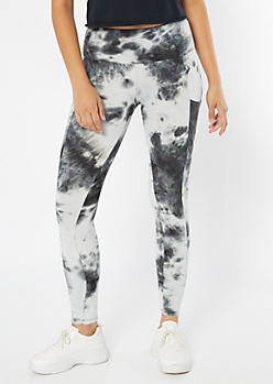 Black Tie Dye High Waisted Cell Phone Pocket Leggings