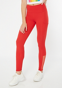 Red High Waisted Cell Phone Pocket Leggings