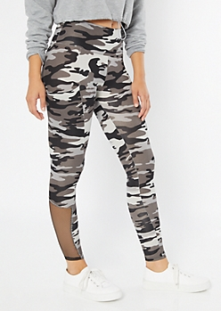 Black Camo Print High Waisted Cell Phone Pocket Leggings