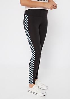 Blue Checkerboard Side Striped Leggings