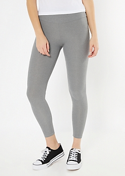 Heather Gray Ribbed Knit Super Soft Leggings