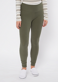 Olive Ribbed Knit Super Soft Leggings
