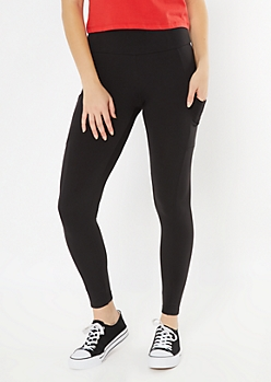 Black Fleece Lined Pocket Leggings