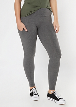 Heather Gray Fleece Lined Pocket Leggings