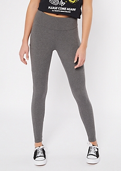 Charcoal Fleece Lined Pocket Leggings