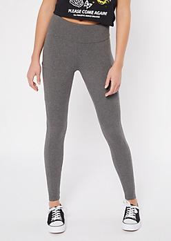 Charcoal Fleece Lined Pocket Leggings