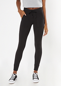 Black Fleece Lined Drawstring Pocket Leggings