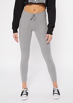 Gray Fleece Lined Drawstring Pocket Leggings