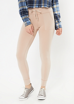 Tan Fleece Lined Drawstring Pocket Leggings