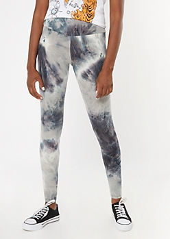 Gray Tie Dye Ribbed Knit Super Soft Leggings