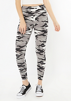 Gray Camo Print Fleece Lined Leggings
