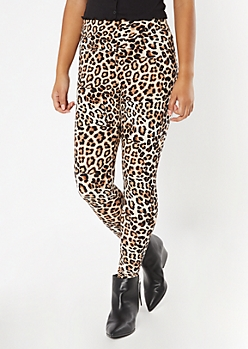 Leopard Print Fleece Lined Leggings