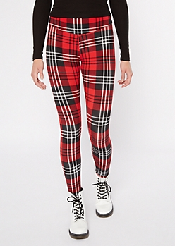 Red Plaid Fleece Lined Leggings
