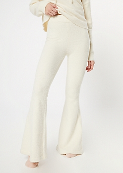 Ivory Cozy Teddy Flare Pants