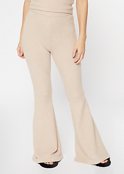 Tan Cozy Teddy Flare Pants