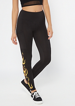Black Flame Print High Waisted Cell Phone Pocket Leggings