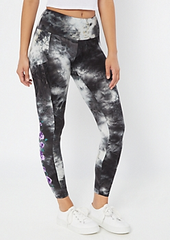 Gray Tie Dye Floral Print High Waisted Leggings