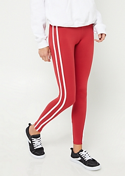 Dark Red High Rise Varsity Stripe Leggings