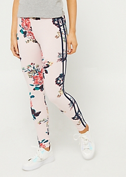 Light Pink Floral Varsity Stripe Leggings