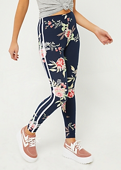 Navy Floral Varsity Stripe Leggings
