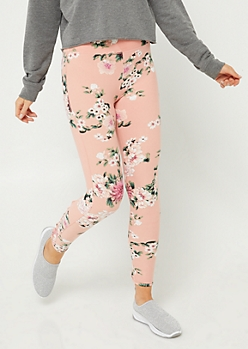 Medium Pink Floral Varsity Stripe Leggings
