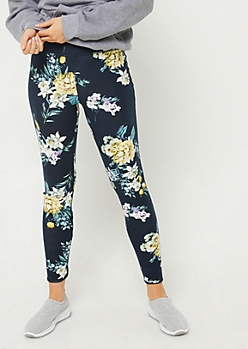 Navy Floral Lattice High Waist Leggings