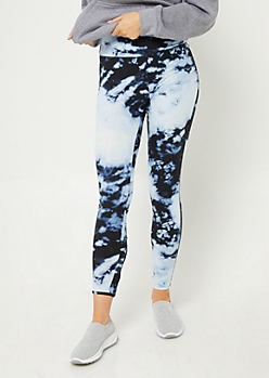 Blue Tie Dye Lattice High Waist Leggings