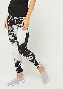Black Tie Dye Lattice High Waist Leggings
