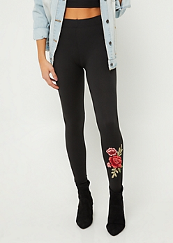 Black Soft Knit Floral Applique Leggings