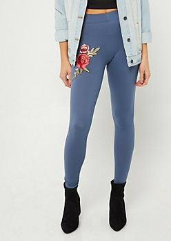 Navy Soft Knit Floral Applique Leggings