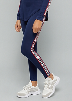 Navy Blessed Mid Rise Side Striped Leggings