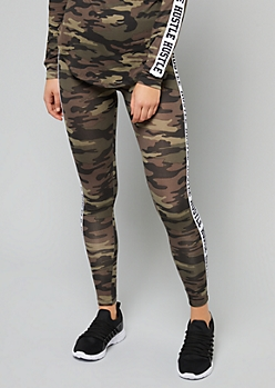 Camo Print Hustle Side Striped Mid Rise Leggings