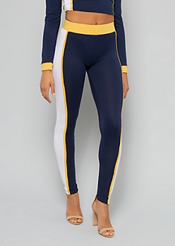 Navy Side Striped Mid Rise Leggings